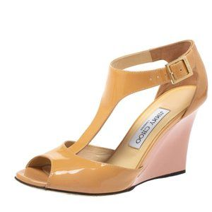 Jimmy Choo Beige Patent Leather Wedges